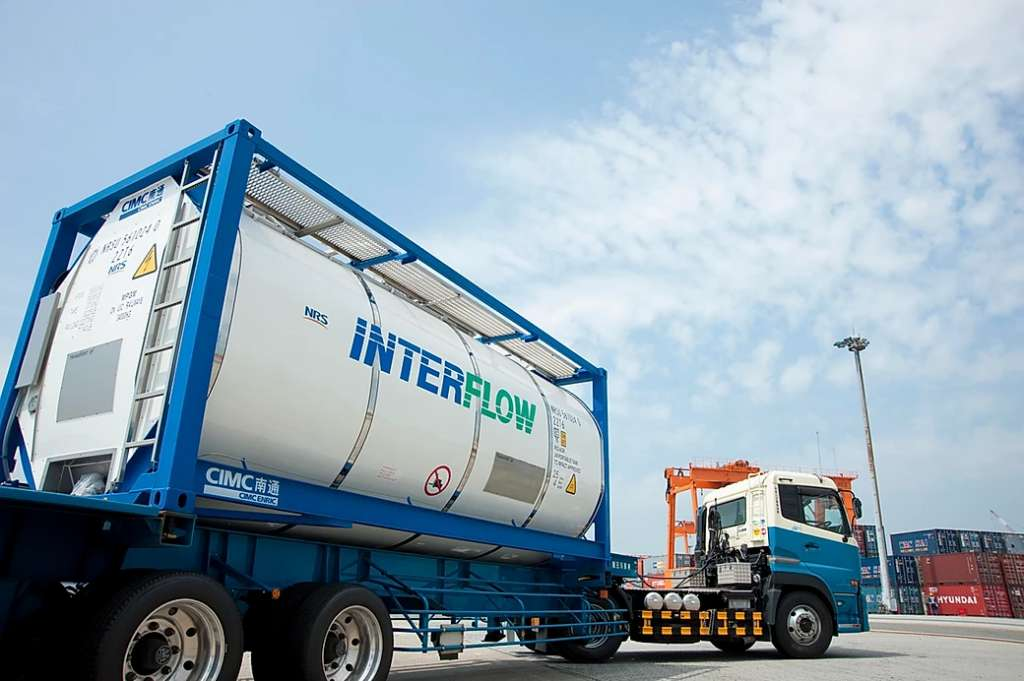 ISO tank container for transportation of liquids and gases by interflow tank container system